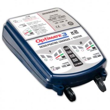 Optimate OM3X2  - Chargeur de batteries de 12 V - 30 Ah - pour 2 batteries