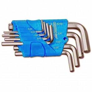 """Jeu de clés mâles coudées au dimensions en pouces: 5/64 - 3/32 - 1/8 - 5/32 - 3/16 - 7/32 - 1/4 - 5/16"""""""