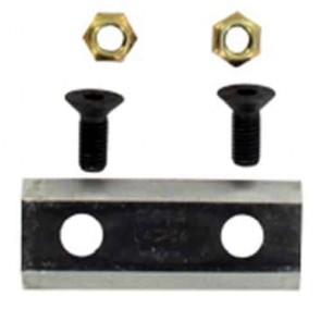 Couteau de broyeur avec visserie d'origine pour GLORIA modèles Euro E1, E2 ,E3, E4, E5 et Protex L: 75mm, l: 30mm, Ø: trou: 11,2mm, entraxe: 43mm. Remplace origine: 727516.0000