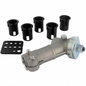 Renvoi d'angle universel - Convient pour les débroussailleuses jusque 45 cc - Livré avec 5 adaptateurs en plastique pour le diamètre des tubes 24, 25, 25,4, 26 et 27 mm - Filet mâle M10 x 1.25 gauche, coupelle pour lames avec diamètre: 25,4 mm