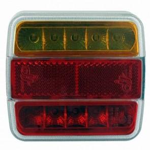 Feux arrière à LED gauche ou droit, 12V, 4+1 fonctions (stop/veilleuse/clignotant/éclaireur de plaque + catadioptre)
