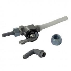 Robinet à essence métallique universel avec Filtre nylon - pour tuyau de Ø: 6mm - filetages: M12 x 100 G