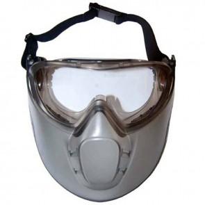 Lunettes et masque de sécurité en polycarbonate et acétate, incolore et antibuée, EN166, résiste aux impacts. idéal pour lors d'un travail de débroussaillage. Permet une utilisation simultanée avec lunettes correctives ou masque respiratoire