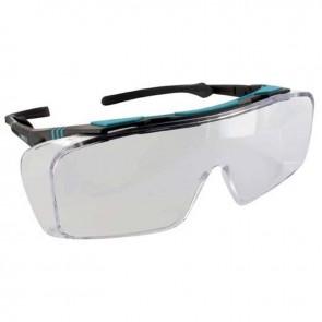 Sur-lunettes pour protection des yeux pour les porteurs de lunettes à verres correcteurs. Oculaire monobloc, incolore, anti-rayures, anti-UV et sans déformation de la vision, avec branches ajustables en longueur et en inclinaison. Poids 44g. EN166 F, EN17