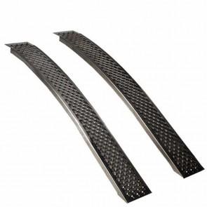 Jeu de 2 rampes courbées alu L: 150cm l: 21,5 cm, profil antidérapant d'une capacité maximum de 400kg/paire