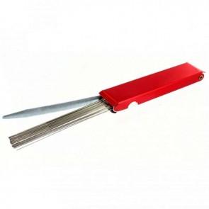 Outils pour nettoyage de Carburateurs, permet de nettoyer les gicleurs et les conduits des Carburateurs encrassés ou bouchés. Comprend 12 tiges en acier calibrées de Ø: 0,45 à 1,68mm