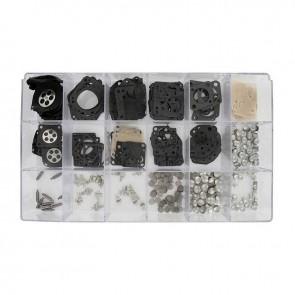 Coffret assortiment de membranes, Joints, leviers, pointeaux, pastilles adaptable pour carburateurs TILLOTSON, HU et HS. Contient 550 pièces