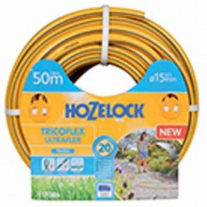 Tuyau d'arrosage TRICOFLEX ULTRAFLEX tricoté 5 couches, flexible et anti-torsion, jaune avec sur-épaisseurs 3D grises. Résiste au gel. Ø 15mm x L: 50m.
