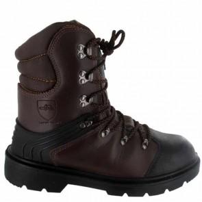 Chaussure de protection tronçonnage CE Classe 1 - Taille 41. EN ISO 20345 S3, SRA, EN ISO 17249 20m/s, 8 couches textile, cuir enduit PU, injecté, doublure respirante, semelle PU mono densité, protection semelle anti-perforation inox, embout acier.