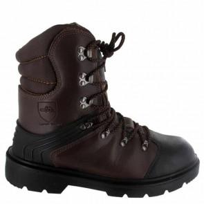 Chaussure de protection tronçonnage CE Classe 1 - Taille 42. EN ISO 20345 S3, SRA, EN ISO 17249 20m/s, 8 couches textile, cuir enduit PU, injecté, doublure respirante, semelle PU mono densité, protection semelle anti-perforation inox, embout acier.