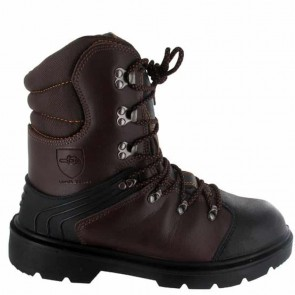 Chaussure de protection tronçonnage CE Classe 1 - Taille 43. EN ISO 20345 S3, SRA, EN ISO 17249 20m/s, 8 couches textile, cuir enduit PU, injecté, doublure respirante, semelle PU mono densité, protection semelle anti-perforation inox, embout acier.
