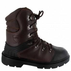 Chaussure de protection tronçonnage CE Classe 1 - Taille 44. EN ISO 20345 S3, SRA, EN ISO 17249 20m/s, 8 couches textile, cuir enduit PU, injecté, doublure respirante, semelle PU mono densité, protection semelle anti-perforation inox, embout acier.