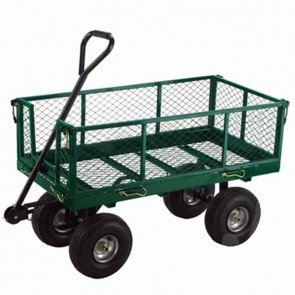 Chariot avec ridelles grillagées en métal avec ouverture latérale. Roues sur pneumatiques de 10x350-4. Dimensions 965 x 508mm. Capacité 363kg